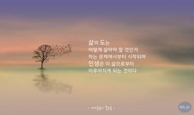 삶의 도는 어떻게 살아야 할 것인가 하는 문제에서부터 시작되며 인생은 이 삶으로부터 이루어지게 되는 것이다.